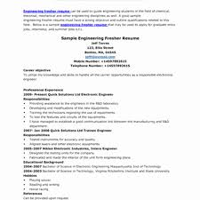 Sample Resume For Electrical Engineer In India New Resume Format Pdf