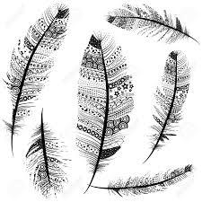 シームレスなヴィンテージ部族羽パターン ベクトル イラスト背景スケッチを設定します