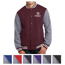 sport tek fleece letterman jacket