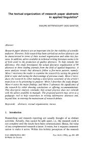 The Textual Organization Of Research Paper Abstracts In
