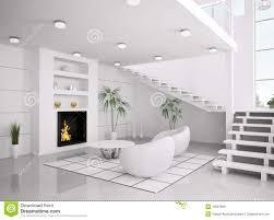 Het Moderne Witte 3d Binnenland Van Woonkamer Geeft Terug Stock