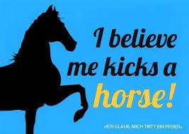 Postkarte Mit Lustigen Sprüchen I Believe Me Kicks A Horse Ich