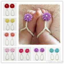 2019 fashion baby girl diy anklet barefoot sandals cute chiffon pearl soft shoes children s accessories birthday party gift free ship b0604 from tina310