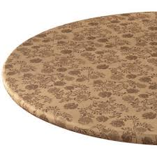 round elasticized table cover chocolate fl fitted vinyl tablecloth