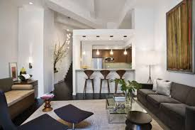 Living Room  Black Tile Flooring White Modern Sofa Ottoman - Contemporary apartment living room