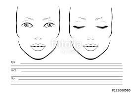 Blank Face Templates Stunning Face Chart Makeup Artist Blank Template Vector Illustration
