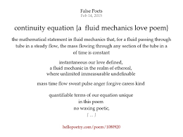 continuity equation. continuity equation {a fluid mechanics love poem} by false poets - hello poetry