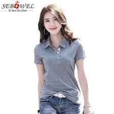 Online Shop SEBOWEL <b>Summer</b> Polo Shirt <b>Woman</b> Solid Lapel ...