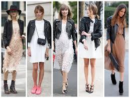 leather jacket dress street style