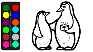 How To Draw A Penguin Coloring Pages For Kids Toddlers Easy
