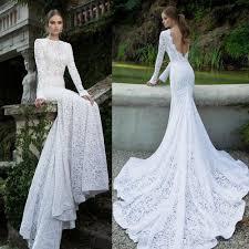 Long Sleeved Vintage Lace Mermaid Wedding Dresses 2016 Berta