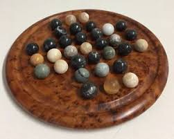 Wooden Solitaire Game With Marbles Vintage Burl Wood Semi Precious Stones Marble Solitaire Game 70