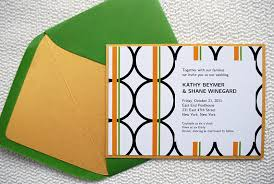 free orange and green diy modern wedding invitation printable template with circles and stripes