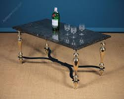 brass coffee table with fossil marble top c 1960