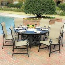 ont design outdoor dining table with fire pit large size of patio in the middle set chairs bar tables round