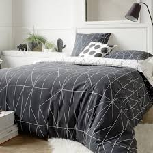 shapes reversible patterned duvet cover white print black la redoute interieurs la redoute
