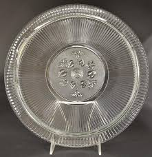 clear glass fl design footed cake plate 12 round