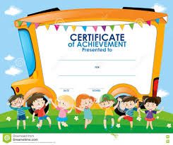 School Certificates Template Certificate Template With Children And School Bus Stock