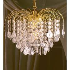 chandelier 18inch 45cm 6 tier 1 light gold mapleleaf waterfall drop pendant clear