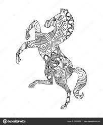 Tekening Zentangle Voor Volwassen Kleurplaat Paard Stockvector