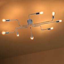 industrial chrome large semi flush ceiling light metal 8 light ceiling lamp for living room clothes