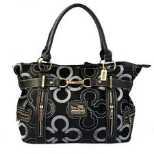 Coach Poppy C Signature Large Black Satchels EKG ...