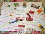 Поздравления с днем рождения на ватмане со сладостями фото