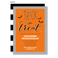 Halloween Invitations Cards Trick Or Treat If You Dare Orange Halloween Invitation