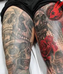 Skulls Realistic 3d Leg Sleeve Rose Tattoo By Jackie Rabbi Flickr