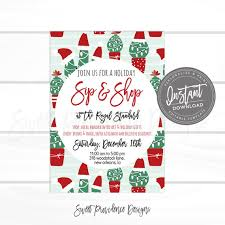 business open house flyer template christmas flyer editable cactus sip shop holiday boutique