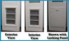 exterior door with window and dog door. [image] close up views of the vip pet door exterior with window and dog