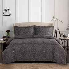 dark gray duvet cover set grey damask victorian european paisley pattern printed soft microfiber bedding with