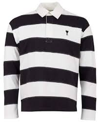ami long sleeved striped rugby polo shirt colour navy white size xl
