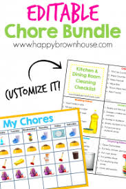 Editable Chore Chart For Adults Editable Chore Cards Chore Chart Bundle