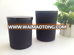 whole matte black glass candle jars with black wooden lid