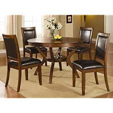 coaster home furnishings swanville 5 piece dining table set in brown walnut