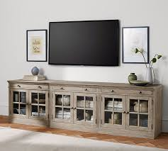 tv stands with glass doors astounding livingston large tv stand pottery barn home ideas 3