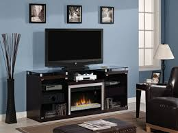 image of electric fireplace entertainment center black