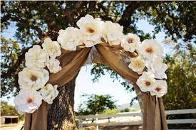 Paper Flower Archway Burlap Draped Across The Archway And Decorated With Big