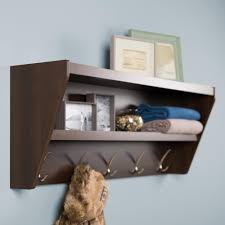 floating entryway shelf and coat rack in espresso