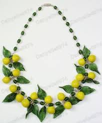 fruit leaves green murano glass bead necklace vintage beads lemon leaf
