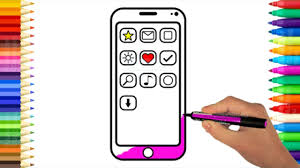 How To Draw Mobile Phone And Apps Coloring Pages For Baby Art