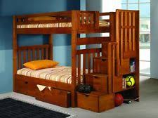 Classic Medium Wood TwinTwin TwinFull Bunk Bed  Stairs w