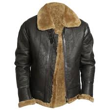 men s aviator raf b3 sheepskin fur leather er flying jacket