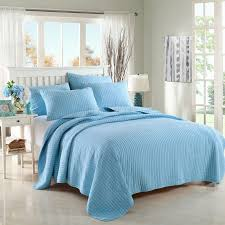 CHAUSUB Blue Coverlet Solid Color Quilt Set 3PC Washed Cotton ... & CHAUSUB Blue Coverlet Solid Color Quilt Set 3PC Washed Cotton Quilts  Embroidered Bedspread Bed Cover Sheets Adamdwight.com