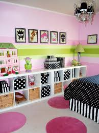 girls bedroom with modular storage bookcase