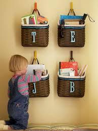 DIY storage ideas, baskets on walls for storage in kids rooms