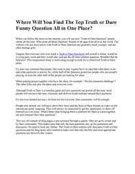 Truth Or Dares Where Will You Find The Top Truth Or Dare Funny Question All In One