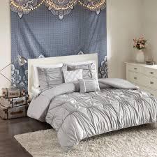 intelligent design quinn 4 piece grey twin twin xl solid duvet cover set