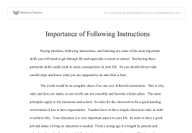 importance of following instructions gcse miscellaneous marked document image preview